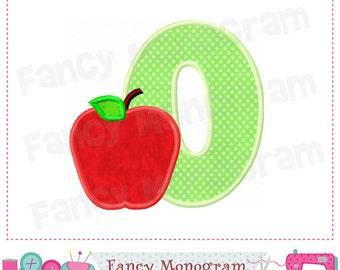 Monogram O applique with apple,School Letter O applique,O,Back to School,O,Apple,Apple design,School design,Student applique.