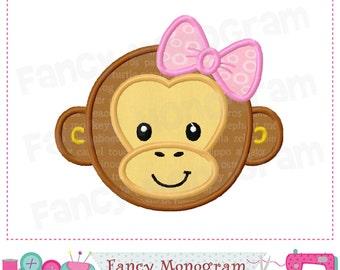 Monkey Girl applique,Easter,Monkey applique,Monkey with bow,embroidery,Girl applique,Monkey,Machine Embroidery. -03
