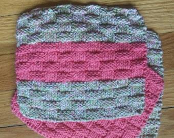 3 100% Cotton Home Knit Wash Cloths