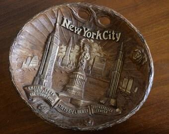 New York Pressed Wood 3D Souvenir Bowl/Wall Hanging