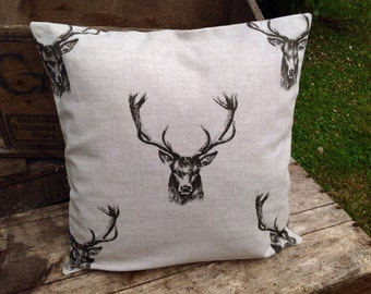 Stag and Tartan Cushion Cover