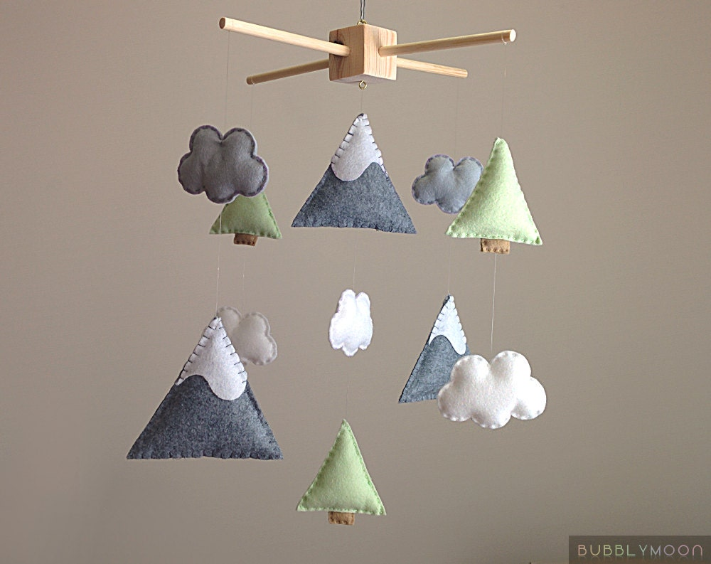 mountains baby mobile modern nursery decor trees baby. Black Bedroom Furniture Sets. Home Design Ideas