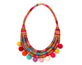 Pom pom necklace, colorful fabric pom pom rope necklace, statement rope necklace, statement bib rope necklace colorful with pompoms