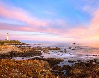 Large Nautical Art, Beach Sunset Print, Lighthouse, Pastel Seascape Photo, Pacific Coast Canvas, Nautical Home Decor, Pink Blue Beach Art