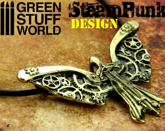 SteamPunk Dark ANGEL Pendant - Clockwork Charm Necklace cogs and Gears