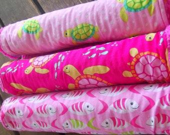 NEW set of 3 Handmade Baby Girl Burp Cloths Chenille Michael Miller Sea Buddies Crab Fish Turtles Pink Green Ocean Animals Shower Gift