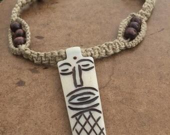 Tribal Beaded Hemp Necklace Tiki Bone Pendant