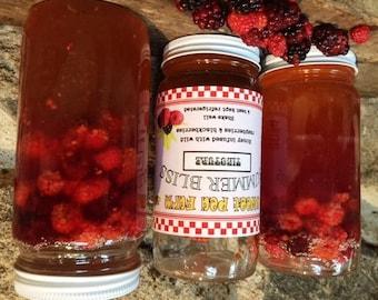 SUMMER BLISS  - wild raspberry/blackberry infused honey - 12 oz