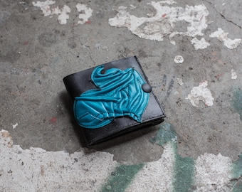 Powder Blue 3D Graffiti Sculptured Leather Trifold Wallet