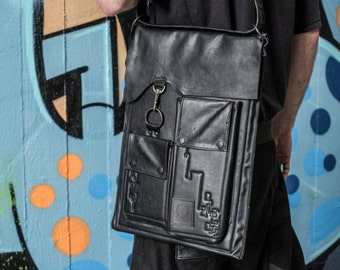 Black Leather Padded Laptop Bag with Removable Duel Purpose Wearable Belt Strap