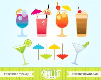10 Cocktail Clipart, Drinks Clipart, Cocktail Clipart Set, Beverage, Summer Drinks Clipart, Colorful Drinks, Summer Cocktails by Vectory