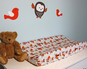 Changing Pad Cover   Gray and Orange Foxes