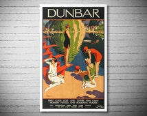 Dunbar First Class Golf and Tennis Modern Hotels and  Boarding Houses VintageTravel Poster - Poster Paper, Sticker or Canvas Print