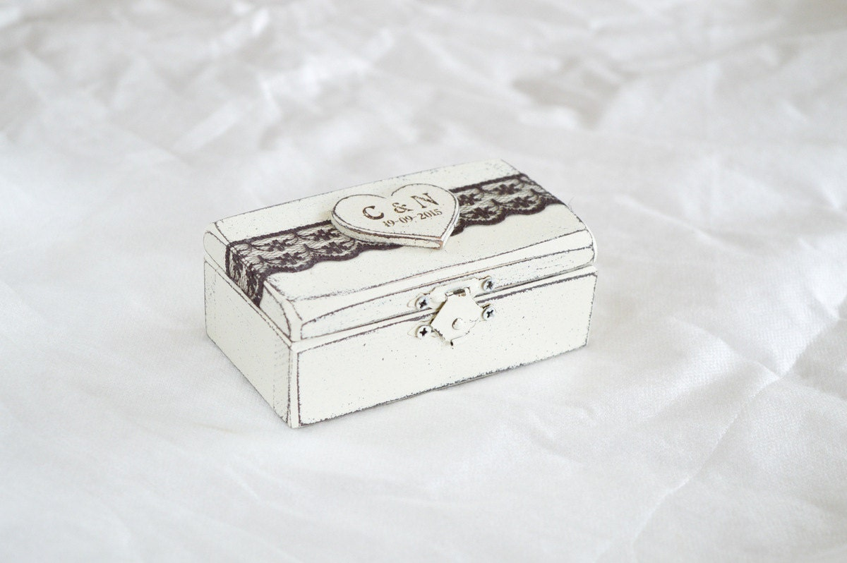 Wedding ring box ring bearer box ring holder by for Wedding ring holder box