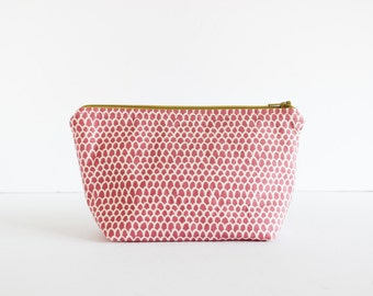 Cosmetic Bag   Zip Pouch Make-up Bag Piper Scallop Print in Punch   Shannon Fraser Designs