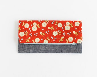 Foldover Clutch | Large Fold-Over Orange Floral and Navy Linen Clutch | s/f Designs