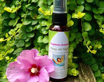Sleep All Night Spray: Deep, Restful, Sleep, Natural Insomnia Aid/Relief with vegan essential oils, Rose, Frankincense, & Ylang Ylang