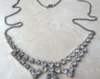 Vintage Sterling Silver Art Deco Style Crystal Necklace.