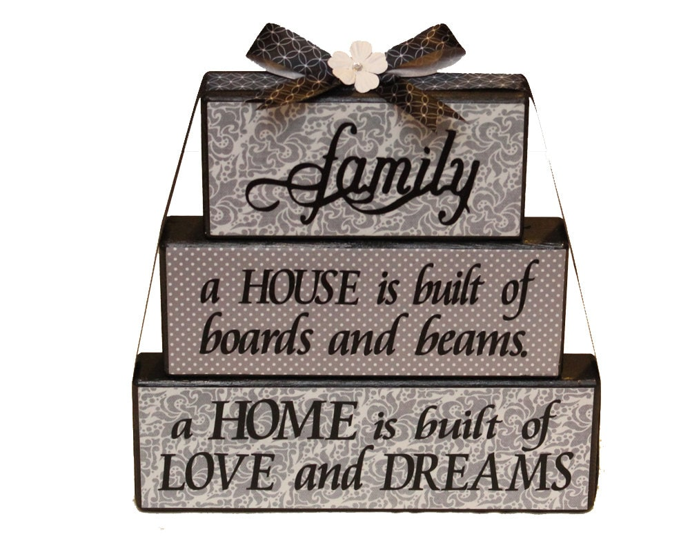 Inspirational Family Sign Home Decor Blocks by TimelessNotion