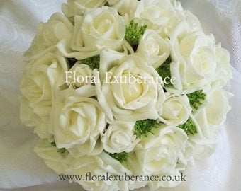 Artificial Ivory Rose Bridal wedding Bouquet Real Touch Foam flowers, Artificial wedding flowers