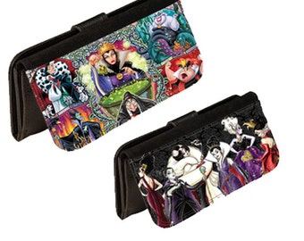 Personalized custom leatherette womens wallet. womens character villains. Great gift for any occasion