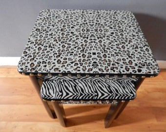 Animal Print Tables hand painted leopard, zebra.Glamour tables,stools.