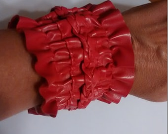 handmade, OOAK, Red Vinyl cuffs, bracelet, jewelry, cosplay