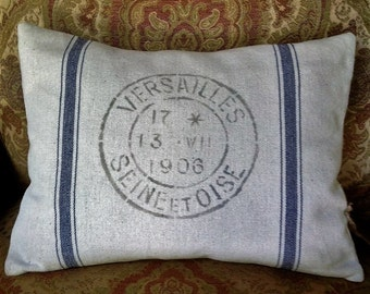 Blue Stripe Grainsack Pillow Cover with French Stencil