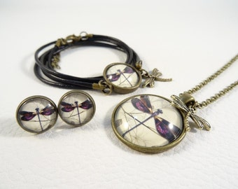 "Jewelry set ""ancient Dragonfly purple"""