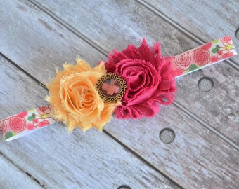 Melon and Fuschia Floral Headband