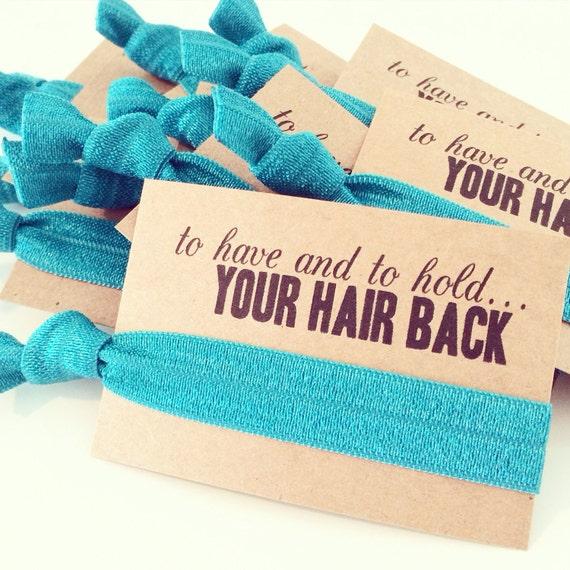 Teal Hair Tie Favors   Teal Bridesmaid Gift Hair Tie, Teal Bachelorette Party Hair Tie Favors, Teal Blue Green Turquoise Ocean Mermaid Jade