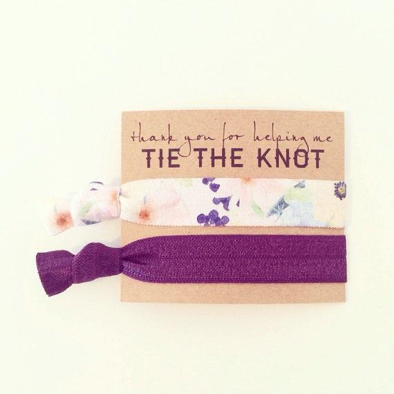 Hair Tie Bridesmaid Gift   Plum Purple Floral Hair Tie Bridesmaid Gifts, Bridal Shower Favor, Eggplant Plum Dark Purple Champagne Blush Nude