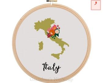 Italy Cross Stitch Pattern Modern Cross Stitch Pattern Country Cross Stitch Pattern Italy Art Italy Country Art Italy Pattern