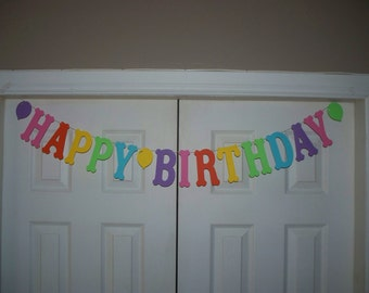 HAPPY BIRTHDAY Letter Banner with Balloons - Rainbow -Pink, Orange, Primary Yellow, Bright Green, Aqua Blue, Purple Banner
