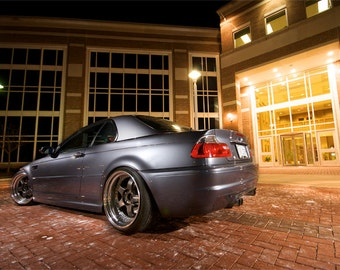 Poster of BMW M3 E46 Blue Left Rear on WORK Wheels HD Print
