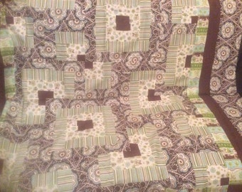 """Brown and Green Quilt Top 60""""x67"""".          SALE 50% Off.   Code:   Allgo50"""