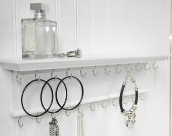 "Jewelry Organizer 18"" Necklace Bracelet Holder - Wall Mounted Necklace Hanger - Wood - Handmade"