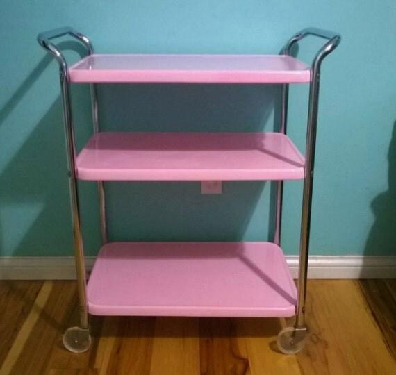 Vintage Pink Enamel Restored Cosco Rolling Utility Cart 3 Tier