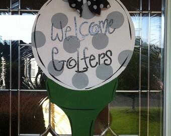 Golfball Tee Wooden Door Hanger