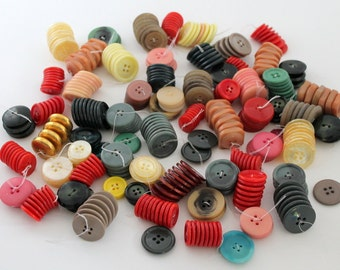 Vintage Buttons, Button Collection, Vintage Button Lot, Colorful Buttons, Various Buttons