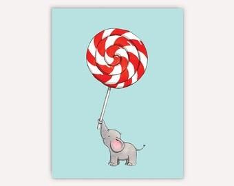 Elephant Lollipop Note Card