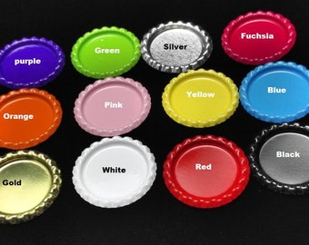 50pcs Colored Flattened Flat Silver Linerless Bottle Caps, with hole or no hole, Flattened Chrome Bottle caps Bottle Cap,