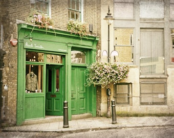 London Photography, London Shop, Architecture, Travel Photo, Lime Green, Cream, Pink Flowers, Home Decor, Wall Art