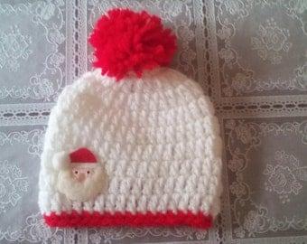 Christmas Santa hat, Santa beanie hat, boy beanie hat, Crochet beanie hat, baby boy beanie hat, newborn beanie hat,