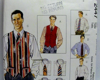 McCALL'S 2447, UNCUT, Men's Lined Vest, Shirt, Tie in Two Lengths, and Bow Tie. Sizes: S, M, L