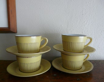 """Vintage Fris Edam Holland """"Cleopatra"""" Cups and Saucers in Mustard - Set of Four"""