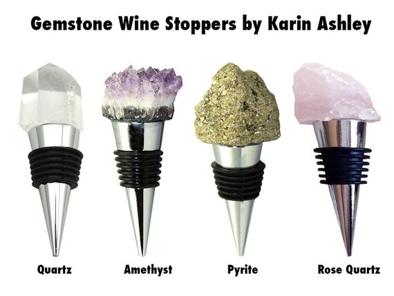 Wine Stopper Amethyst Pyrite Quartz Rose Quartz By