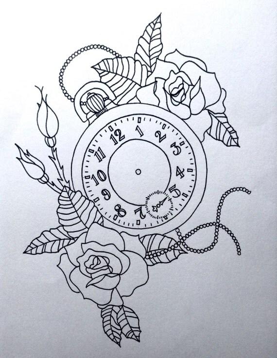 Taschenuhr bleistiftzeichnung  Taschenuhr Linienzeichnung Print 17 x 13cm gedruckt auf A4