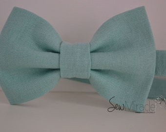 Linen bow tie - Men's bow tie - Baby bow tie - Child bow tie - Mint linen bow tie - Gift for him -  Wedding - Fathers day