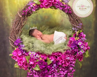 Baby Flower Nest  Photography Prop, Newborn Poses Prop, Great for taking photos of newborns, babies supports up to 11 pounds.